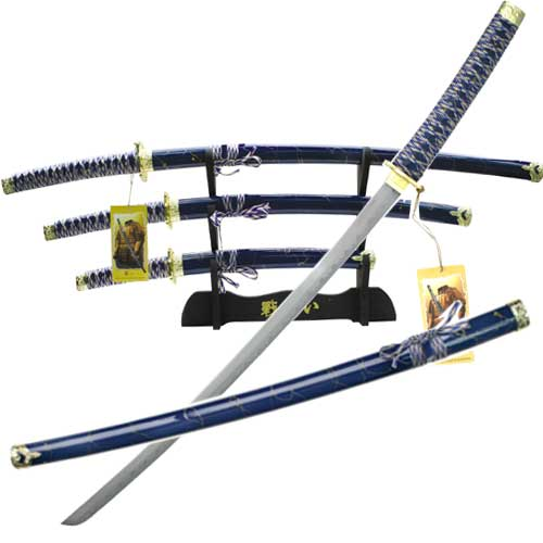 Designer Hardwood Blue Samurai Sword Set
