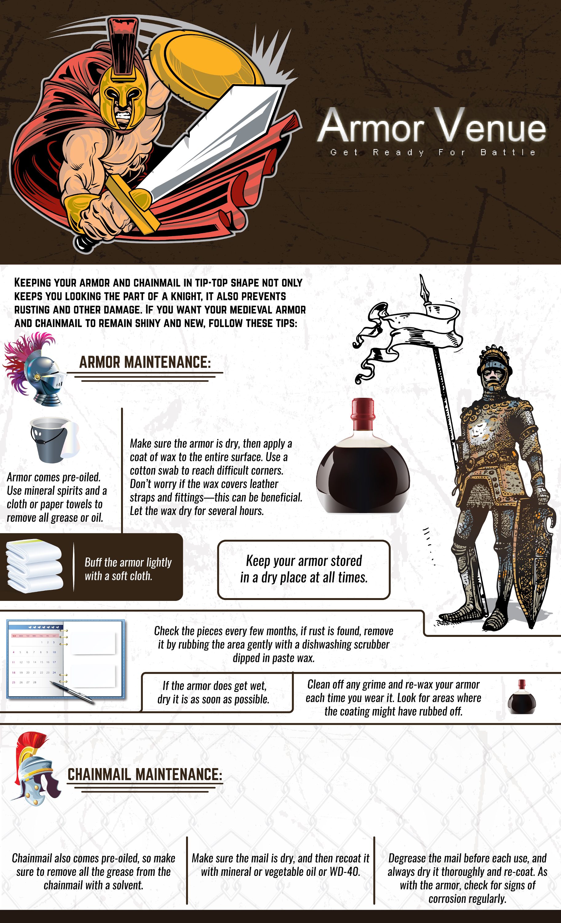 Follow these easy instructions and tips to keep your armor and chainmail preserved for years to come!