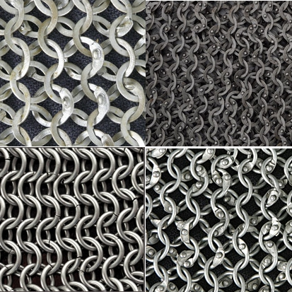Different types of chainmail construction - butted, flat ring riveted, dome riveted, and combination.
